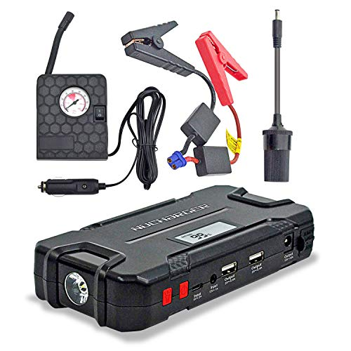 12V Jump Starter with Portable Air Compressor-Nucharger PJ16 600A Peak Auto Battery Booster Earthquake Emergency Tool 12000mAh Multi-functional Power Pack w. Cigarette Lighter Adapter (2019 Upgraded)