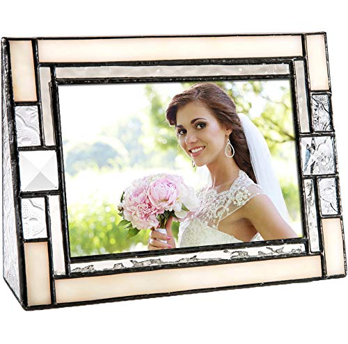 - J Devlin Pic 407-46H Ivory Opal Stained Glass Picture Frame 4x6 Horizontal Photo Vintage Wedding Frame