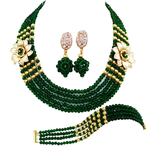 (laanc 5 Rows Multicolors African Beads Jewelry Set,nigerian Wedding Beads Jewellery Sets A-022A (Dark Green))