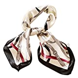 Feoya Women's Satin Vintage Printing Square Scarf 23.6*23.6 Inches-Black&White
