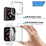 Amprich Compatible with Apple Watch Series 4 Protective Cases [2Packs],One Built in Soft Clear TPU Screen Protector All-Around Cover and One Protective Bumper,Compatible with New iWatch Series 4 44mm