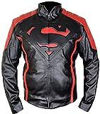 MSHC Black Superman V2 Jacket Fitted Smallville Leather Jacket Black & Red