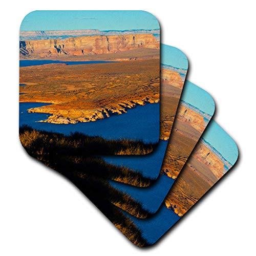 (3dRose Danita Delimont - Arizona - USA, Arizona, Page, Lake Powell Vistas, From Wahweap Overlook - set of 4 Coasters - Soft (cst_314540_1))