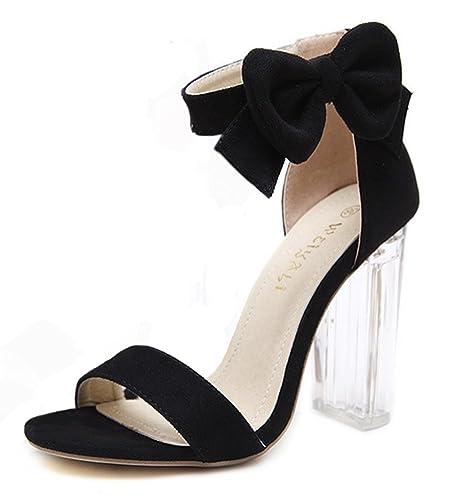 Footaction Zum Verkauf Damen Glitzer Strass Perlen Transparent  Knöchelriemchen Blockabsatz Sandale mit Schnalle Aprikosenfarben 38 EU 04e73874a1