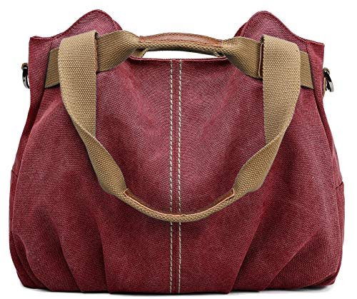 Top Lined Fully Tote Zip - Z-joyee Women's Ladies Casual Vintage Hobo Canvas Daily Purse Top Handle Shoulder Tote Shopper Handbag Satchel Bag