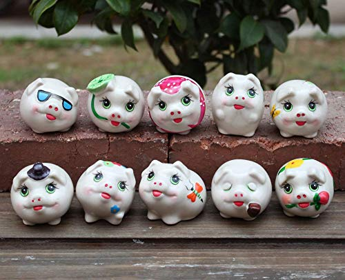 Astra Gourmet Set of 10 Adorable Ceramic Pig Statue Figurine Crafts Decor Mini Animal Collectible Statue, Assorted Style