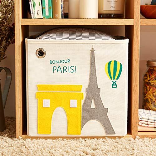 kaikai & ash Toy Storage Bin, Box Cube Basket Organizer for Baby Kids and Sprouts, 13 inch Canvas, Paris