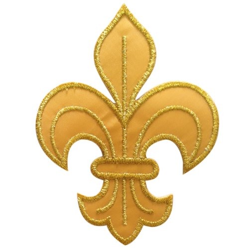Fleur De Lis Gold Iron on Patch Embroidered Fabric ()
