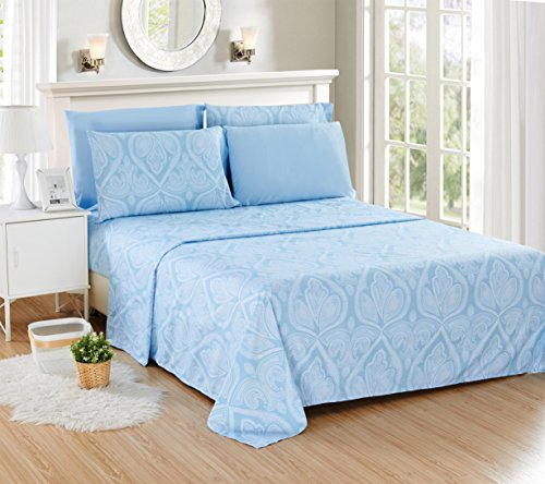 """Lux Decor Collection Bed Sheet Set - Brushed Microfiber 1800 Bedding - Wrinkle, Stain and Fade Resistant - Hypoallergenic - 6 Piece (Queen, Paisley Blue) - FEEL THE DIFFERENCE -Sleep better and wake up each morning feeling refreshed and full of energy. Silky soft, most comfortable and luxurious bed sheets you can find. Best for any room in your house - bedroom, guest room, kids room, RV, vacation home. Great gift idea for men and women, Moms and Dads, Valentine's - Mother's - Father's Day and Christmas. PERFECT FIT EVERYTIME GUARANTEED: Egyptian Quality Queen Size Sheet Set Made of high-strength microfiber yarns that will stay soft and wrinkle free for years to come TOP QUALITY CONSTRUCTION: : Queen Bed Sheet set 6 Piece Set: 90"""" by 102"""" flat sheet; 60"""" by 80"""" fitted sheet and Four 20"""" by 30"""" pillowcases. LIFETIME GUARANTEE -Lux Decor Collection is a different kind of company that prides itself in providing the absolute best customer service in the industry. If for any reason you decide that this bed sheet set is not for you, send 1 simple email and receive a 100% money-back refund, absolutely no questions asked - sheet-sets, bedroom-sheets-comforters, bedroom - 51zYfjPkx7L -"""