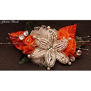 Orange and white BEADED lily wrist Corsage with roses, beads, and rhinestones. Also sold with matching boutonniere. Other colors offered in my Amazon store! 24