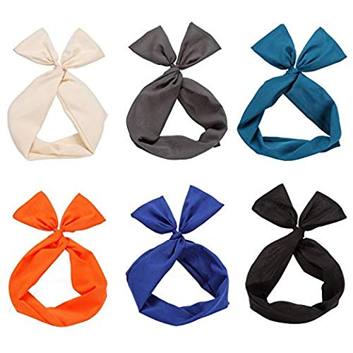 Twist Bow Wired Headbands Scarf Wrap Hair Accessory Hairband by Sea Team(6 Packs -