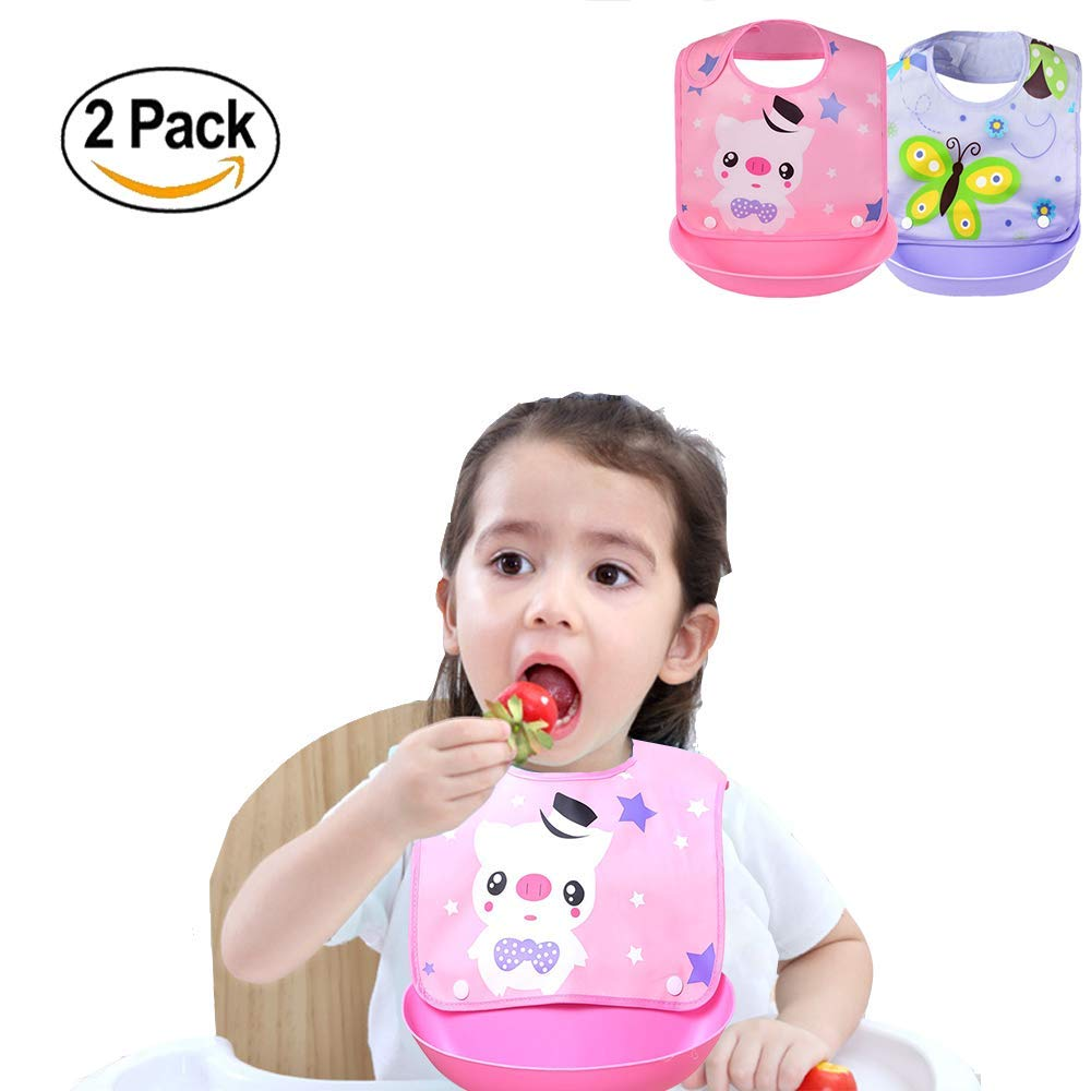 PrePro Waterproof Silicone Bibs for baby kids toddlers girls boys Feeding Drooling Teething. washable removable adjustable Reduce Cleaning