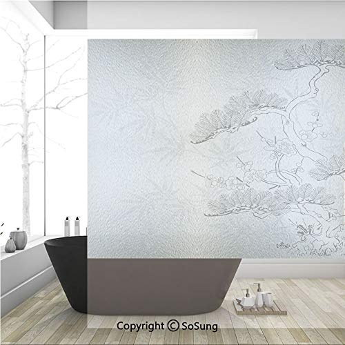 3D Decorative Privacy Window Films,Asian Style Bamboo Birch and Flower Twiggy Petals Pine Silhouettes Floral Pattern,No-Glue Self Static Cling Glass film for Home Bedroom Bathroom Kitchen Office 36x36