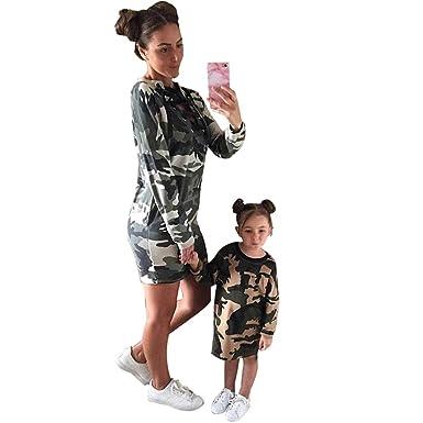 227932127c22a JEELINBORE Mother Daughter Dresses Family Matching Long Camo Sweatshirt  Pullover Girls Kids Womens T-Shirt Dress - Camouflage, XL (Girls): Amazon.co .uk: ...