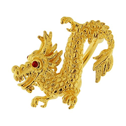 Gemstone Nipple Ring - 3 Micron 18K Yellow Gold Plated 3D Chinese Dragon Reverse Bar 925 Sterling Silver Belly Button Ring