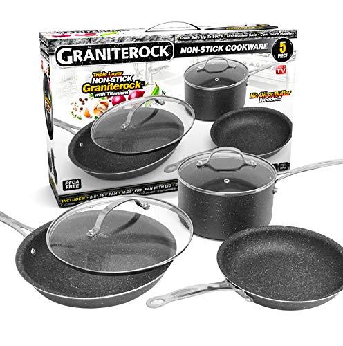 GRANITEROCK 5 Piece Cookware Set, Scratch-Proof, Nonstick Granite-coated, PFOA-Free As Seen On TV