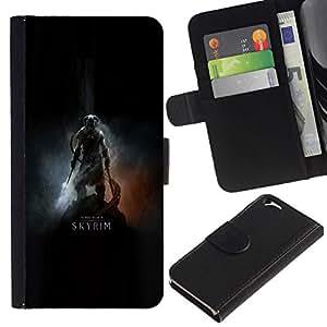 NEECELL GIFT forCITY // Billetera de cuero Caso Cubierta de protección Carcasa / Leather Wallet Case for Apple Iphone 6 // Dracónido Cartel del guerrero