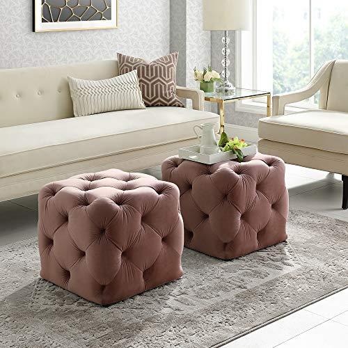 Inspired Home Blush Velvet Ottoman – Design: Angel | Square Shaped | Modern | Allover Tufted Design For Sale