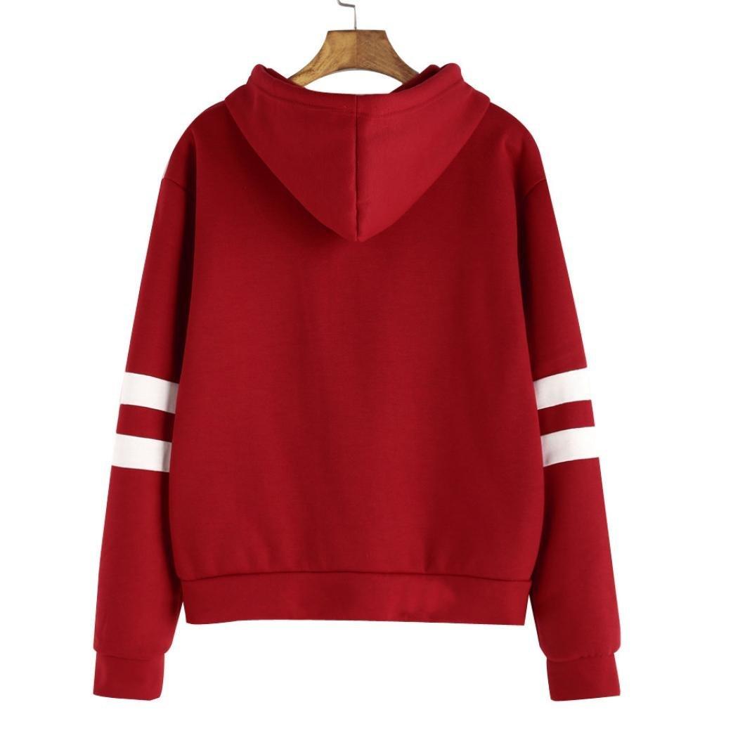 AMSKY Women Teen Girls Hoodie,Glasses Lightning Print Stripe Long Sleeve Sweatshirt Hooded Pullover Tops Blouse with Pockets (L, Red) by AMSKY (Image #2)