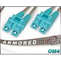 10M OM4 LC LC Fiber Patch Cable | Armored Duplex 100Gb 50/125 LC to LC Multimode Jumper 10 Meter (32.8ft) | Length Options: 0.5M-300M | FiberCablesDirect | Alt: ofnr lc-lc mmf patch-cord -lc armored