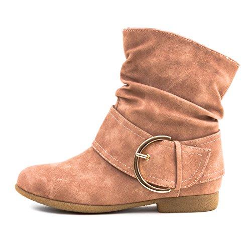Marimo Stiefeletten Desert Worker Pink Kurzschaft Stiefel Boots Schnalle mit Trendige Schlupf rnZqraWRw