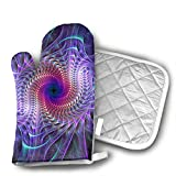 Purple Psychedelic Trippy Art Set of Oven Mitt and Pot Holder Or Oven Gloves-100% Cotton, High Heat Resistance, Superior Protection & Comfort¨CElegant Design-Machine Washable