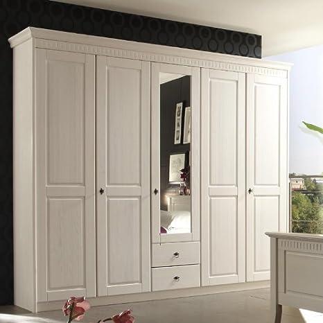 Landhaus Kleiderschrank »DENIO226« massiv, weiß lasiert ...