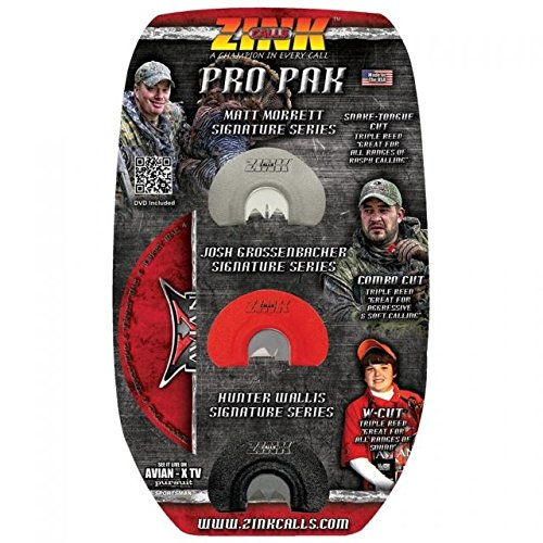 Zink Calls PRO PAK Triple Reed Signature Series Turkey Diaphragm Call Combo with DVD -