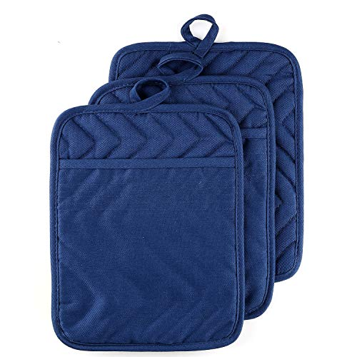 """VEIKERY Oven Pot Holder with Pocket 100% Cotton Heat Resistant Coaster Potholder Kitchen Hot Pad Oven Mitts for Cooking and Baking Square Set of 3 7""""x9"""" (Blue)"""