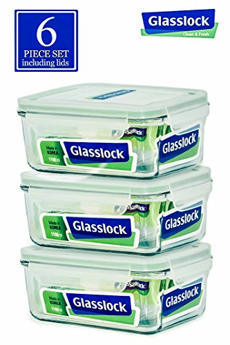 Glasslock Round,Rectangular and Square Glass Food-Storage Container with Locking Lids Oven and Microvave Safe. (Rectangular 37oz)