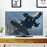 Leighhome Front Flip Top of Huge Military Ship in The Air Solar Planetary Cosmos Vehicle Grey Blue Front Flip Top W25 x H45 INCH/TV 47''-50''