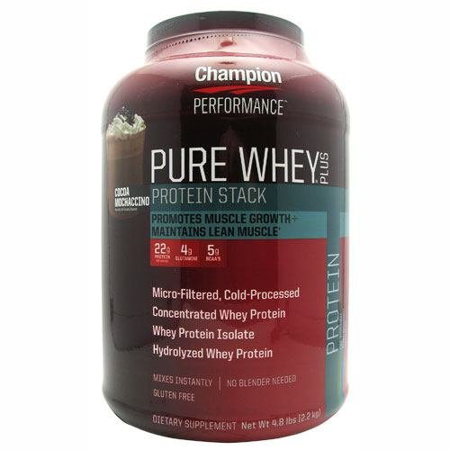 Lean Stack - Champion Performance - Pure Whey Plus Protein Stack - Cocoa-Mochaccino - Whey Protein Isolate Powder Sports Supplement, Promotes Muscle Growth and Maintains Lean Muscle - 4.8 lbs.