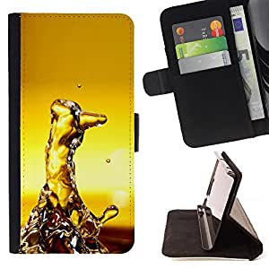 DEVIL CASE - FOR Samsung Galaxy S6 EDGE - Water Random Art Modern Structure Yellow - Style PU Leather Case Wallet Flip Stand Flap Closure Cover