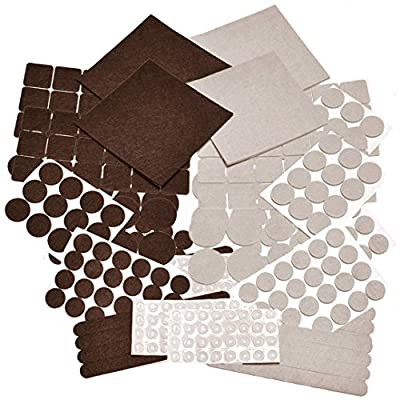 332 PIECE Two Colors - Mega Pack Variety Size Felt Pads. Self Adhesive Pads with Transparent Noise Reduction Bumpers. Best Floor Protectors for your Hardwood & Laminate Flooring.