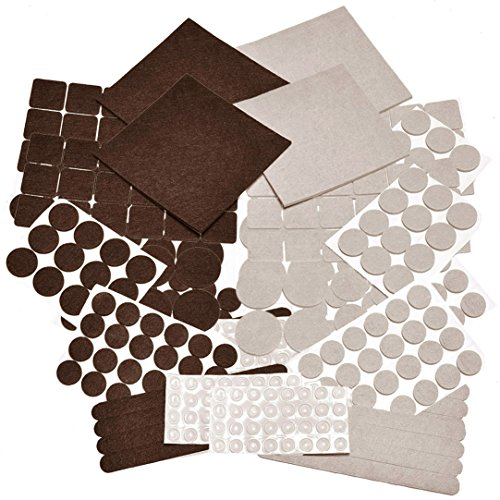 332 PIECE Two Colors - Mega Pack Variety Size Felt Pads. Self Adhesive Pads with Transparent Noise Reduction Bumpers. Best Floor Protectors for your Hardwood & Laminate Flooring. (Square Laminate Flooring)