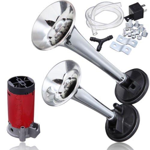 PanelTech 135DB 12V Dual Trumpet Air Horn Compressor Tractors Vans ATVs Golf Carts W/ Tube Junction (Silver)