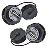 Anmbest 2PCS Electrical USB2.0 IP67 Waterproof Connector Industrial Standard Double Head Coupler Adapter Female to Female Socket Plug Panel Mount with Waterproof/Dust Cap