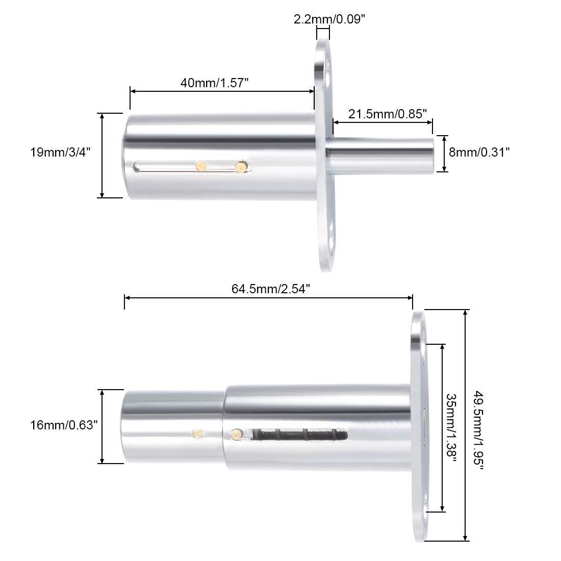 uxcell 19mm Dia Cylinder Head Silver Tone Metal Sliding Door Plunger Lock w Keys