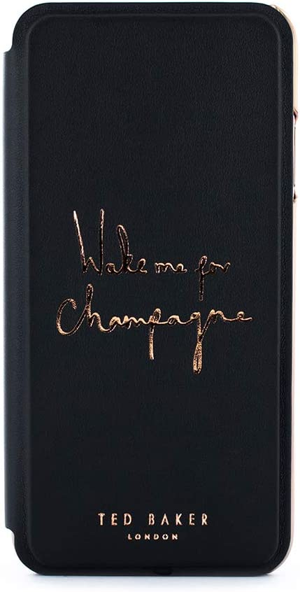 Ted Baker Champagne Fashion Mirror Folio Card Slot Case for iPhone 8 Plus / 7 Plus, Protective Cover iPhone 8 Plus / 7 Plus for Professional Women/Girls