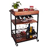 Solid Wood Meta Bar and Serving Cart with Wheels- Industrial Style Rolling Storage Cabinet Trolley - Kitchen Bar Dining Room Tea Wine Rack with Wine and Bottle Holder