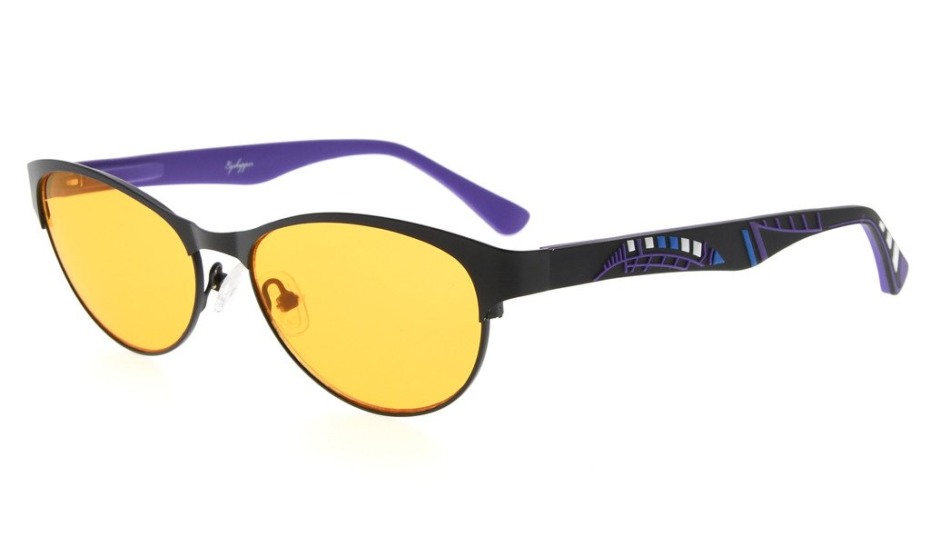 Eyekepper Computer Gaming Glasses with Optical Frame and Anti Radiation Reduces Eyestrain-96.9% Blue Light Blocking Orange Tinted Lens-Womens Sleep Better Cat-Eye Eyeglasses(Black/Purple, 0.00)