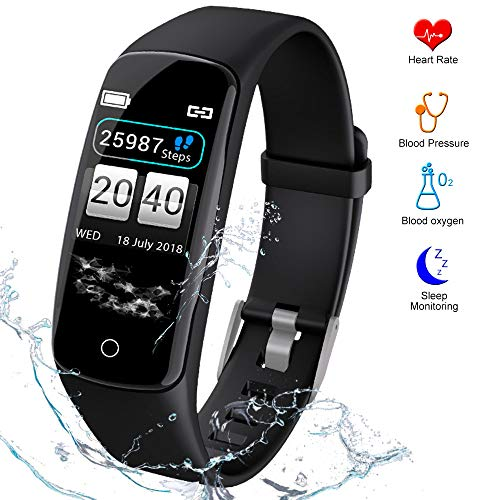 Fitness Tracker HR Activity Tracker - Watch with Blood Pressure Monitor, IP67 Waterproof Activity Tracker with Heart Rate Sleep Monitor Calorie Pedometer for Men Kids and Women