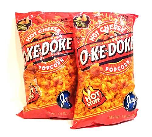 Hot Cheese Popcorn - JAY'S BIG BAG OKE DOKE HOT CHEESE Popcorn 2 Pack 7.5 oz bags