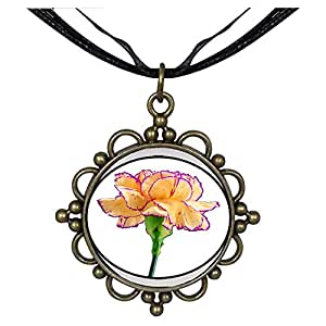 Chicforest Bronze Retro Style Carnation For Mom Round Flower Pendant