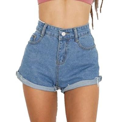 Haola Women's Juniors Vintage Denim High Waisted Folded Hem Jeans Shorts at Women's Clothing store