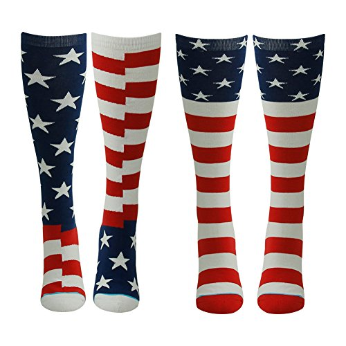 Running Socks, Gmark Women's Red, White, and Blue Patriotic American Flag Performance Crew Socks 2-Pair (Soccer Team Flag)