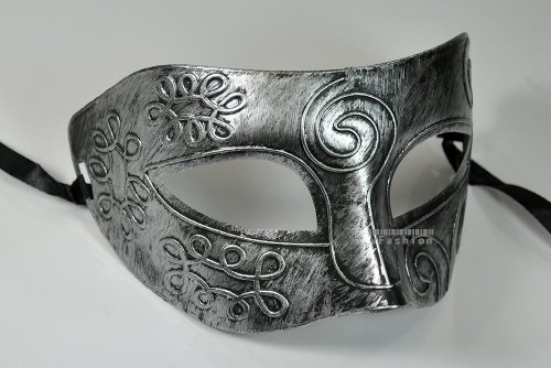 Silver Antique Greek Roman Warrior Men Venetian Mardi Gras Party Masquerade Mask - Event Party Ball Mardi Gars by (Mardi Gras Balls)