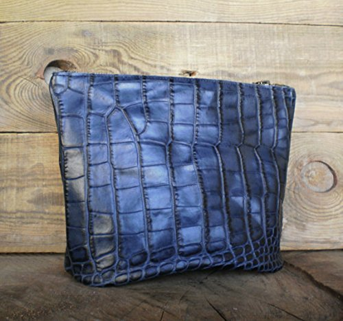 Leather toiletry bag, Woman cosmetic bag, Zippered pouch, Bridesmaid, Leather case, Personalized, Hairdresser bag, Make-up, Croc, Black&blue, shaving bag,