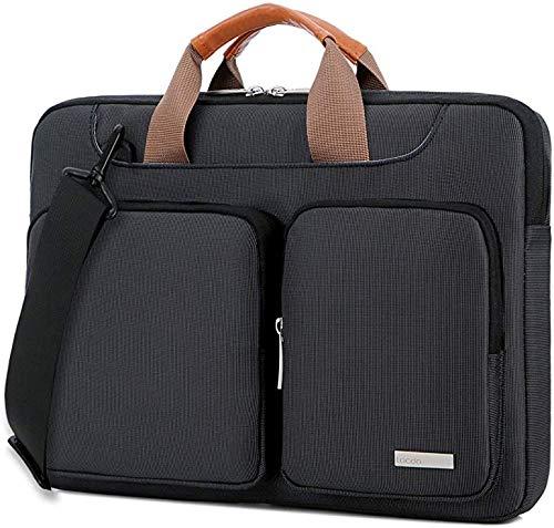 Lacdo 15.6 Inch Laptop Shoulder Bag, 360° Protective Sleeve Case Compatible Acer Aspire, Predator, Toshiba, Inspiron, ASUS P-Series, HP Pavilion, Lenovo, Chromebook Notebook Briefcases, Black (Aspire Accessories Laptop Acer)