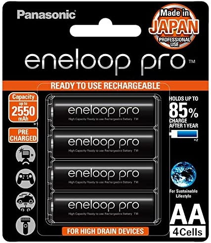 Panasonic BK-3HCCA4BA eneloop professional AA High Capacity Ni-MH Pre-Charged Rechargeable Batteries, 4 Pack, Black